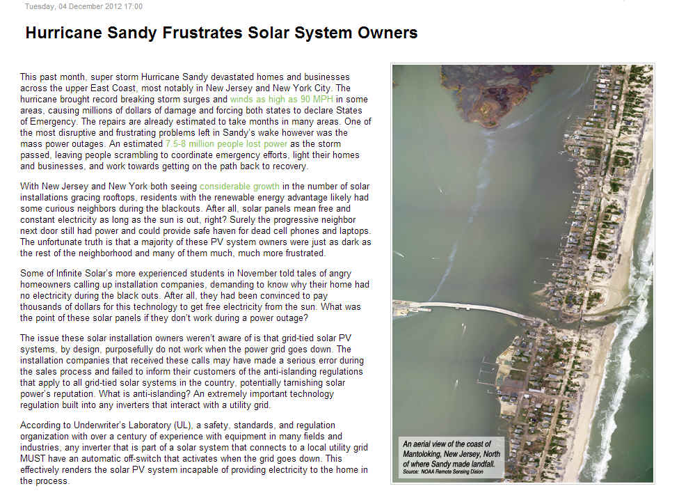 Sandy Grid Tied Problems